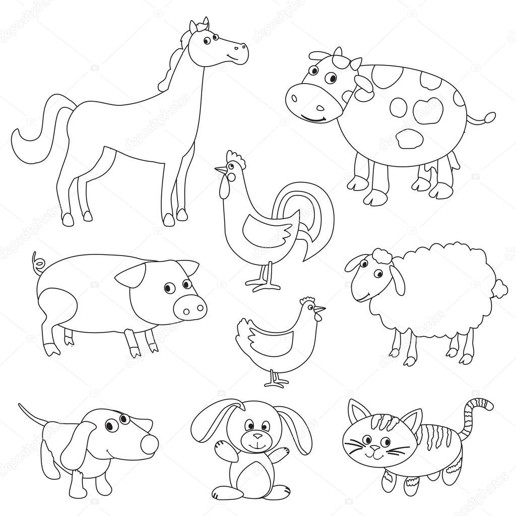 Animais Da Fazenda Bonito Dos Desenhos Animados E Nas Aves Livro Para Colorir Esboco V