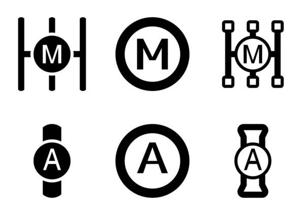 Icona del segno di trasmissione automatica. controllo