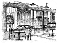 Restaurant interior vector sketch, city street view ...