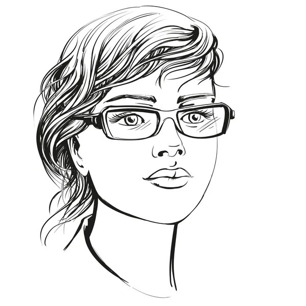 Makeup sketch template, beauty face girl. Vector