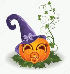 pumpkin halloween baby cute vector illustration clip clipart drawings drawing artwork graphics carodi illustrations depositphotos