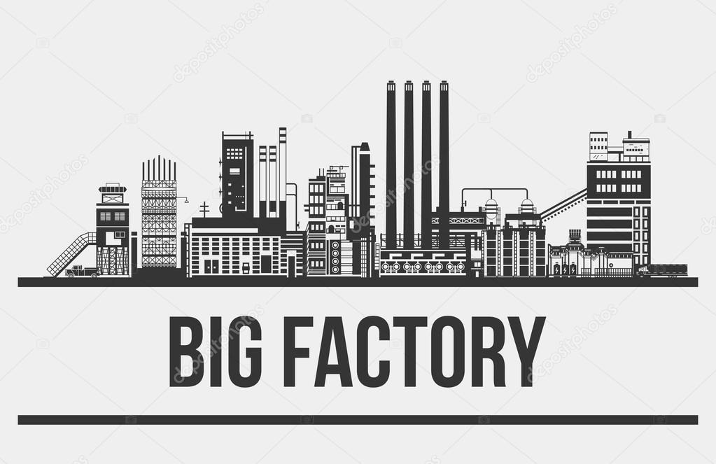 Schéma du géant manufacture ou usine, usine ou ligne de