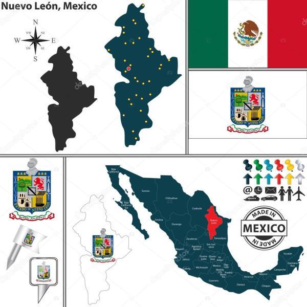 Mapa de Nuevo León México Archivo Imágenes Vectoriales
