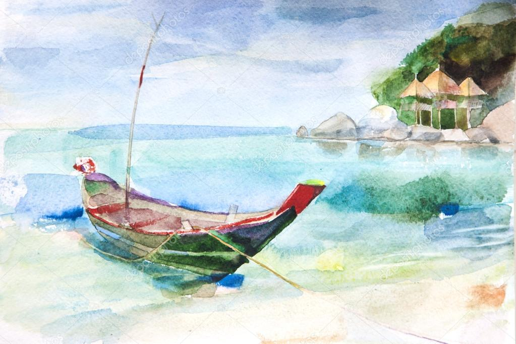 acquerello paesaggio marino  Foto Stock  whitehoune 57980697