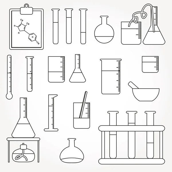 Chemical test tubes icons line illustration vector — Stock