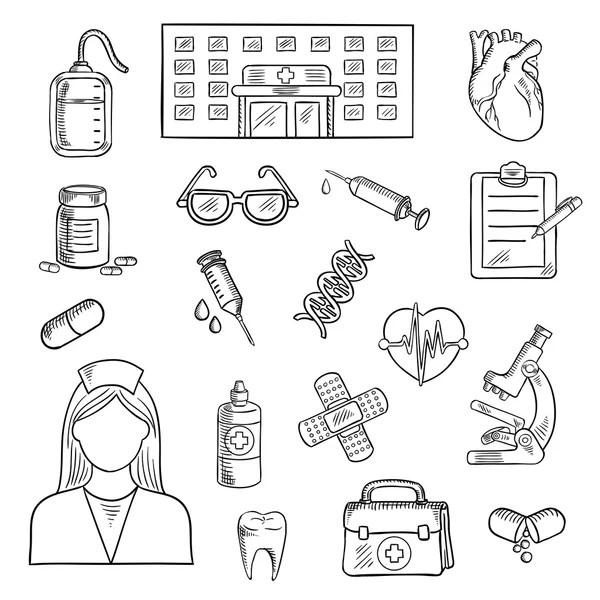 clinique médicale des objets dessin — Image vectorielle