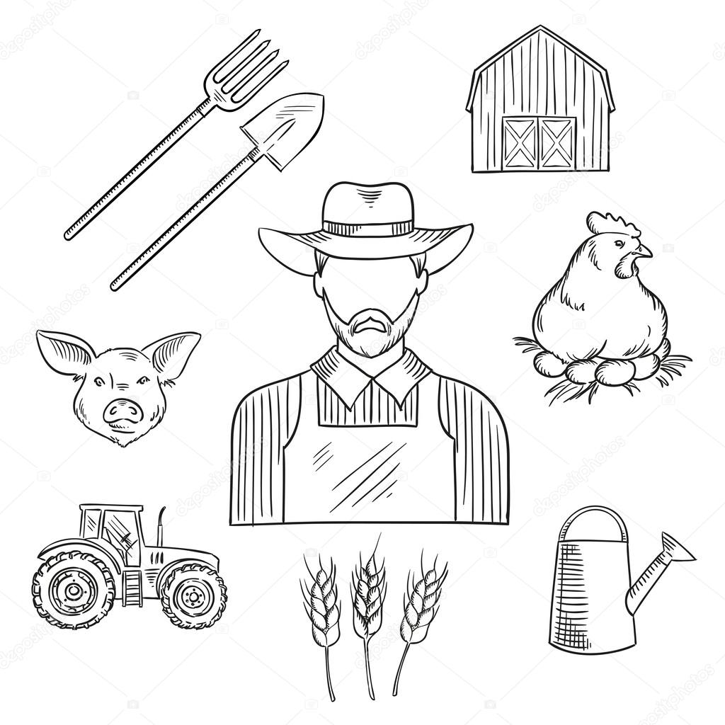 Sketch Of Farmer Profession For Agriculture Design