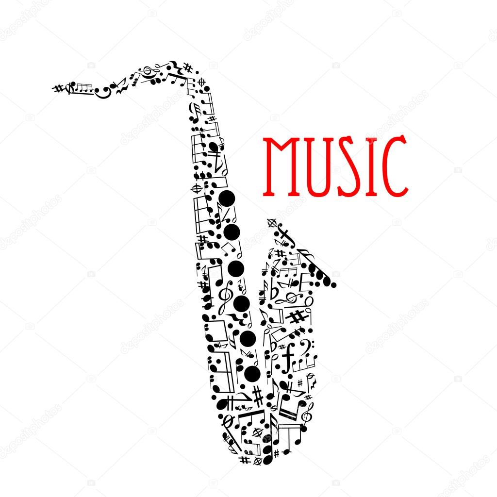Saxophone with musical notes for music design — 图库矢量图像©
