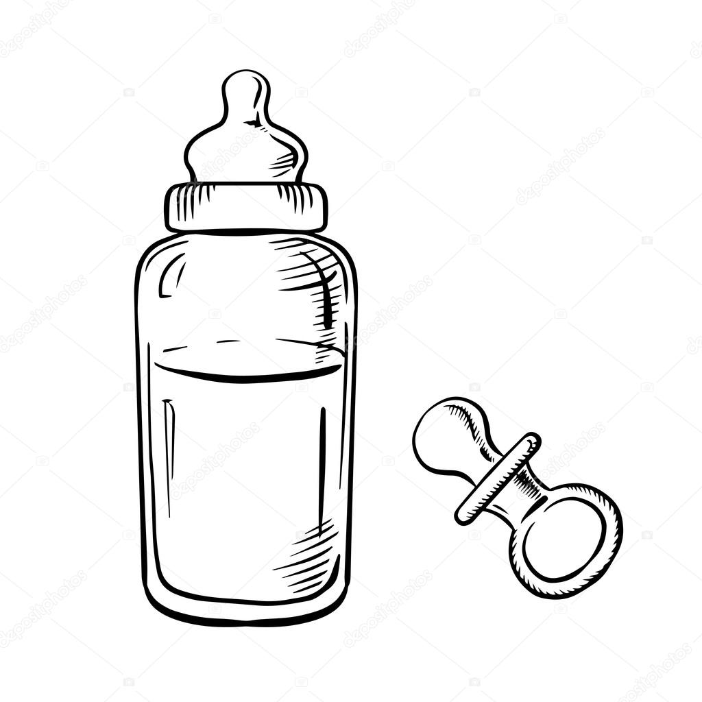 Baby Bottle And Pacifier Sketches