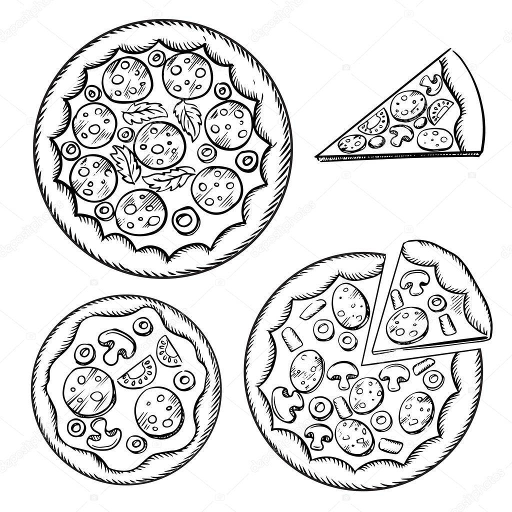 Italian pizza sketches with different topping — Stock