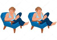 Happy cartoon man sitting in blue chair in blue top ...