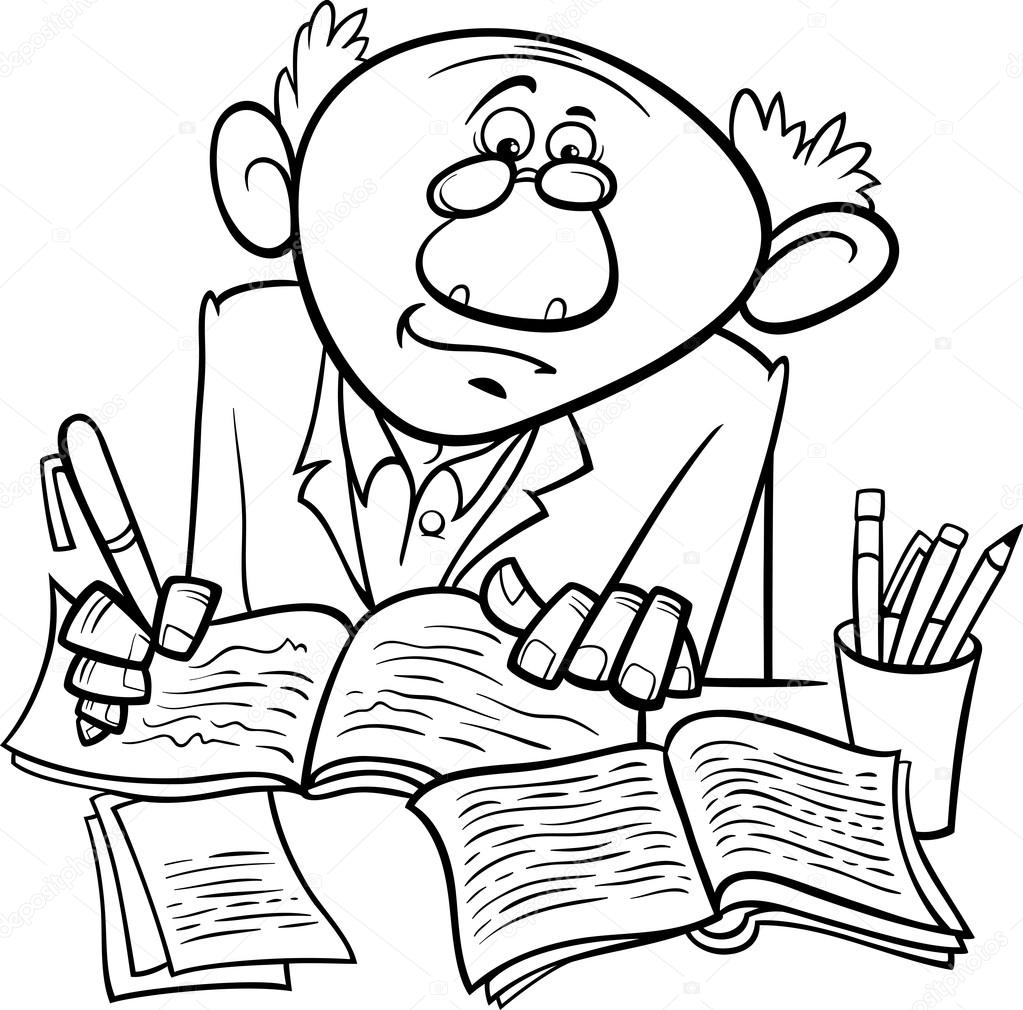 professor or writer cartoon coloring page — Stock Vector