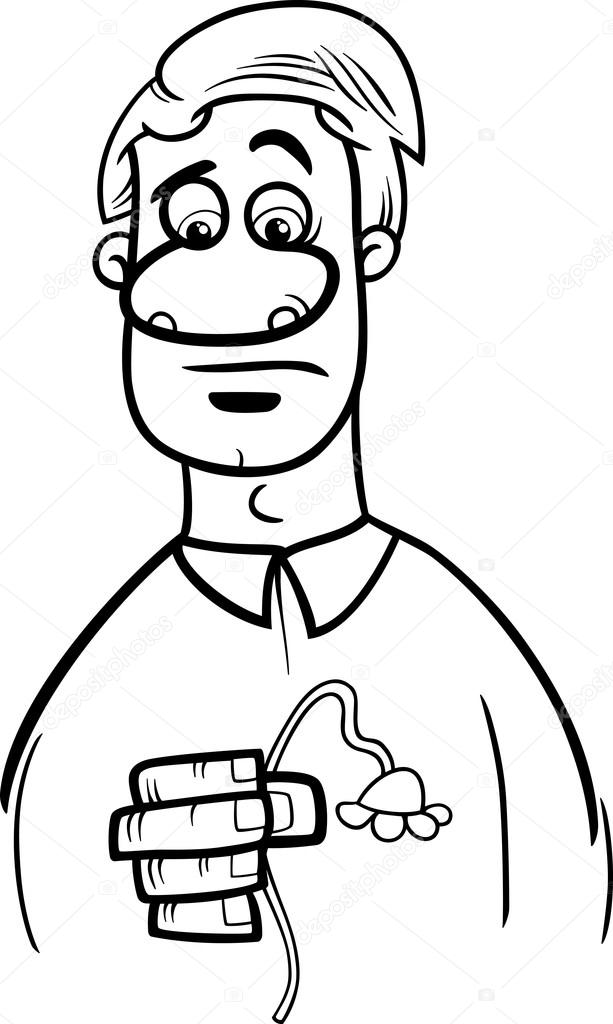 sad man cartoon coloring page — Stock Vector © izakowski