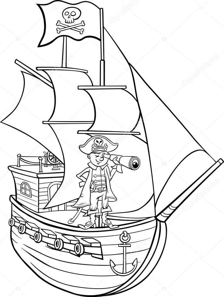 En página para colorear de dibujos animados de barco