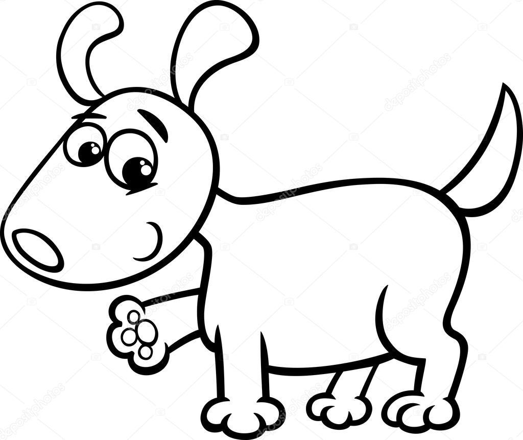 Cane cucciolo dei cartoni animati da colorare — Vettoriali