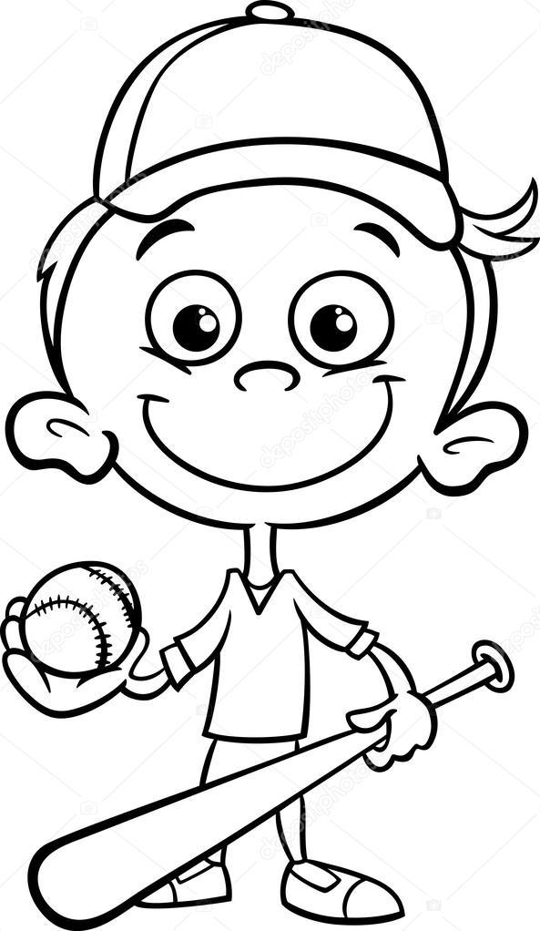 Boy baseball player coloring page — Stock Vector