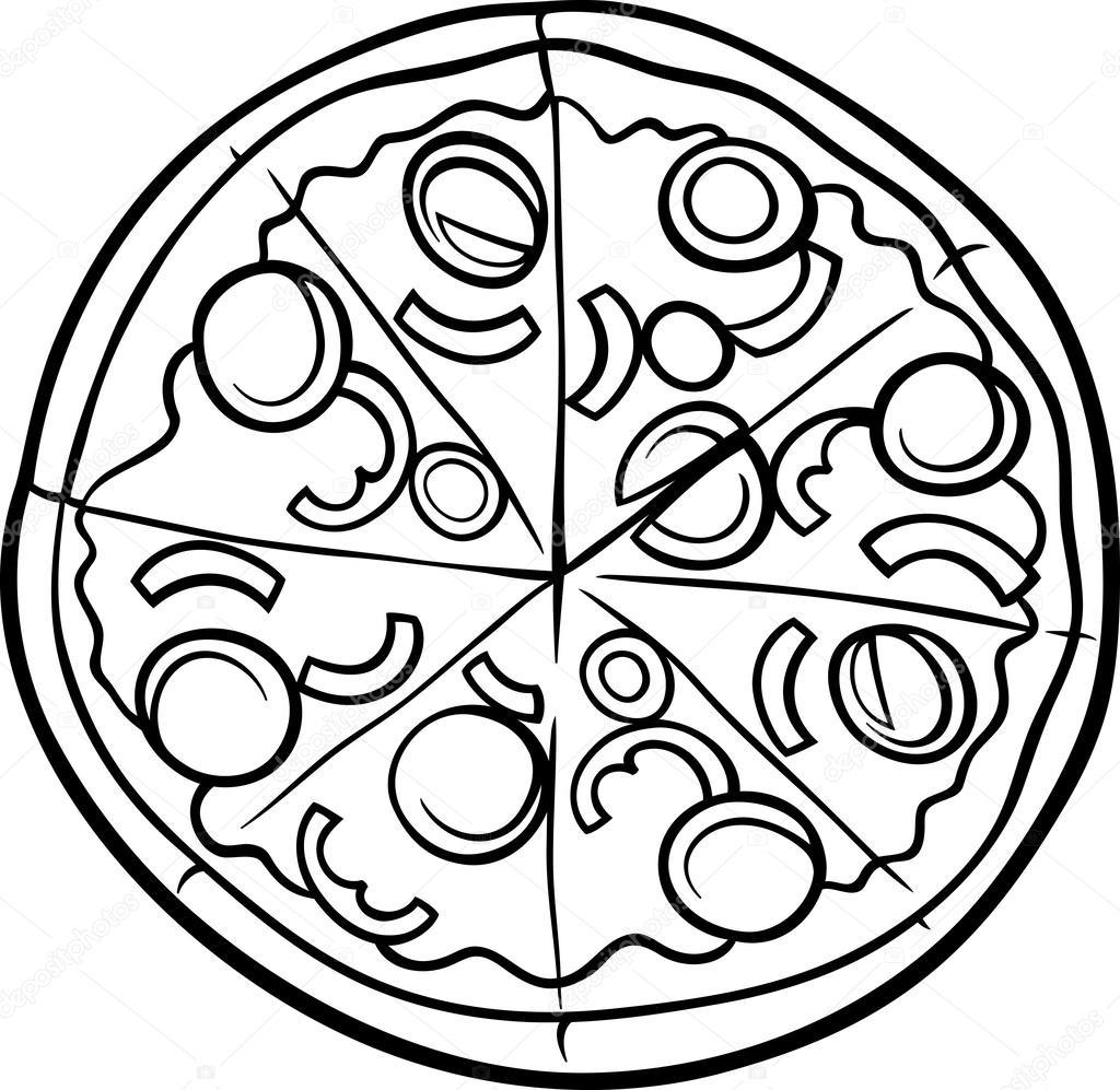 Pagina di pizza italiana dei cartoni animati da colorare