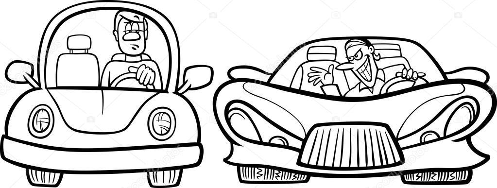 malicious driver cartoon coloring page — Stock Vector