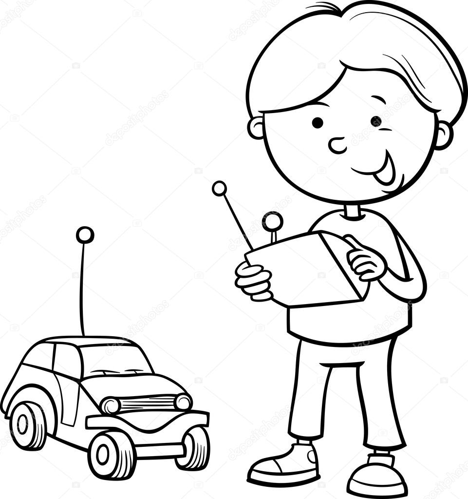 boy and remote car coloring page — Stock Vector