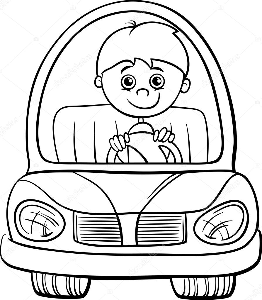 Boy in car cartoon coloring page — Stock Vector #56054435