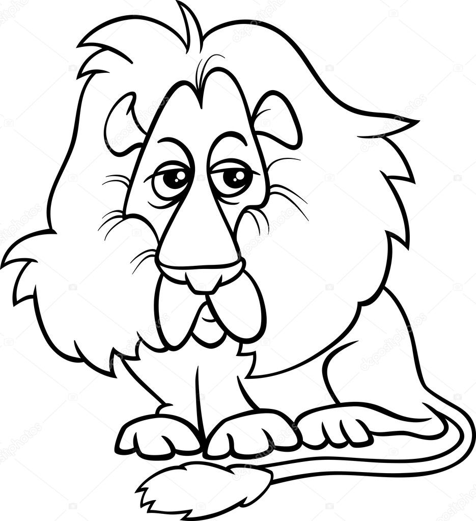 lion animal cartoon coloring page — Stock Vector