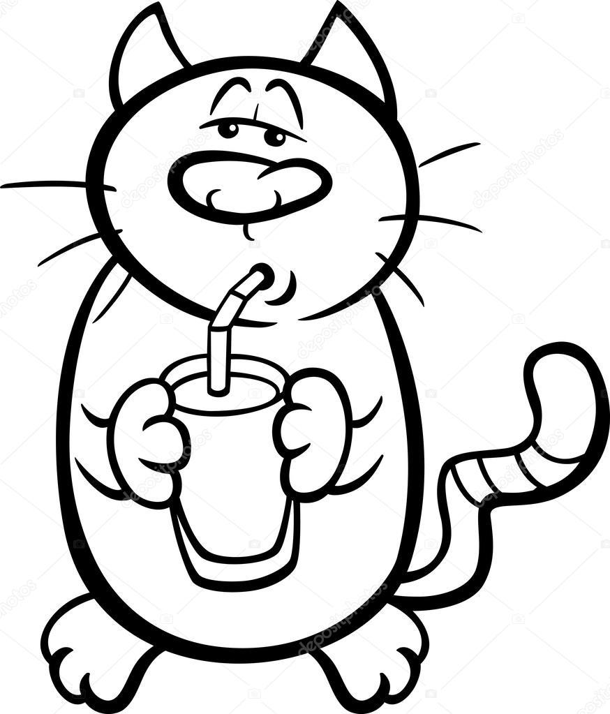 cat drink milk coloring page — Stock Vector © izakowski