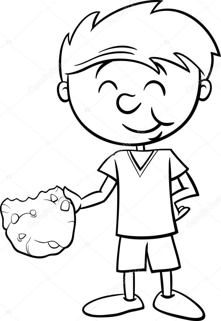 boy with cookie coloring page — Stock Vector © izakowski