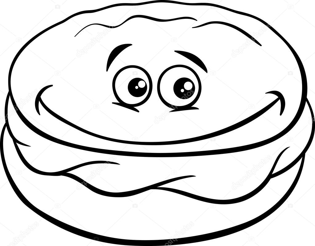 Whoopie pie cartoon coloring page — Stock Vector