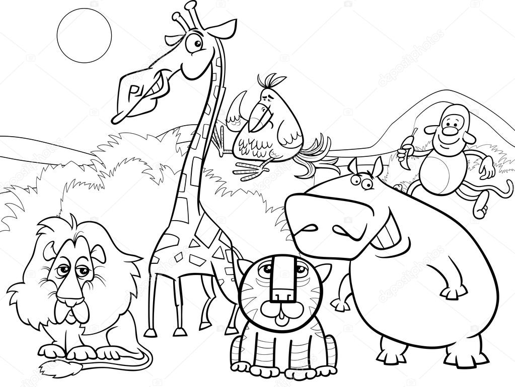 wild animals group coloring page — Stock Vector