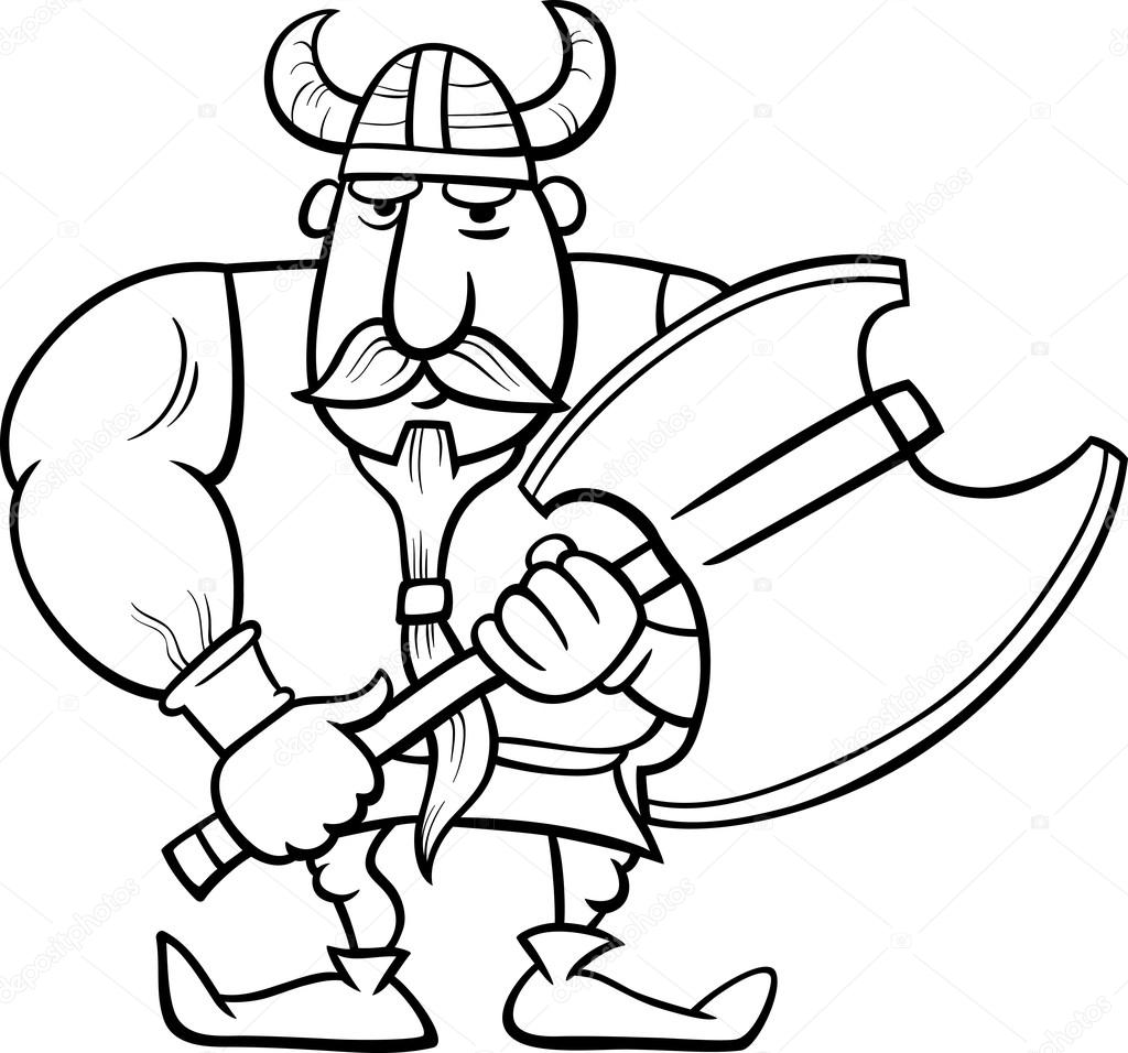 viking cartoon coloring page — Stock Vector © izakowski