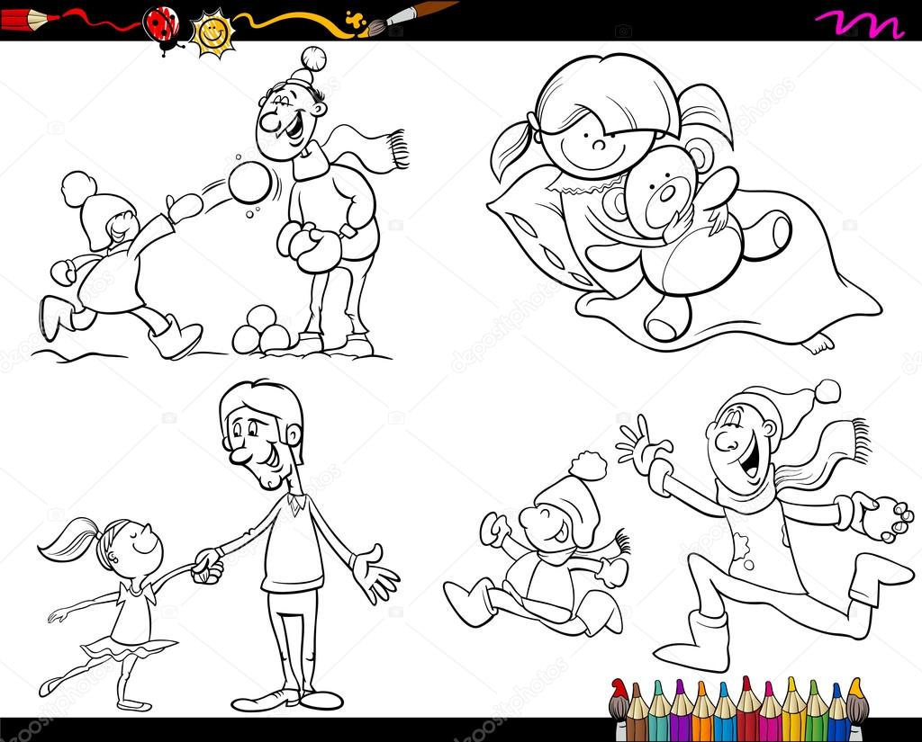 family coloring page cartoon set — Stock Vector