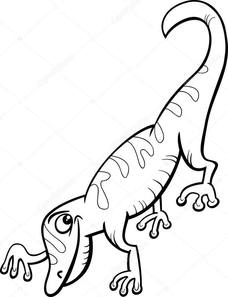 Gecko Coloring Page Gecko Reptile Cartoon Coloring Page Stock Vector C Izakowski 66545899