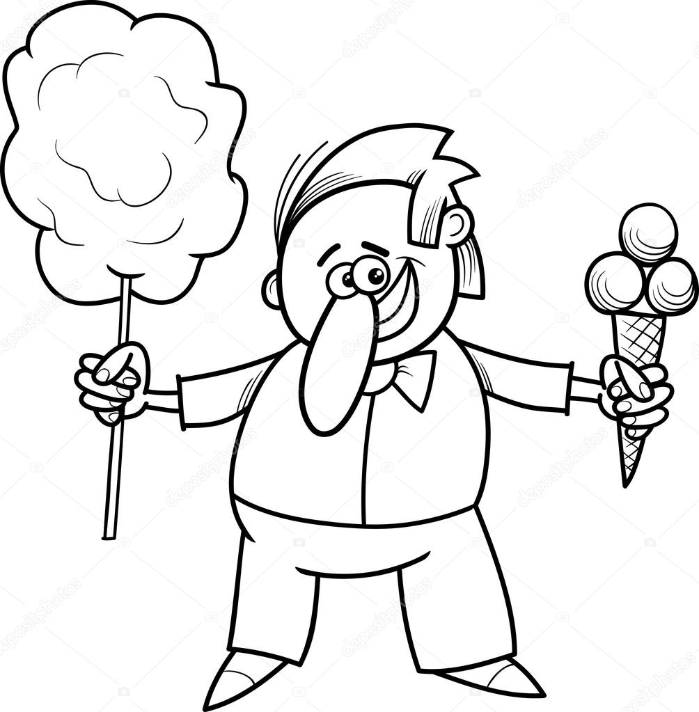 candy vendor coloring page — Stock Vector © izakowski