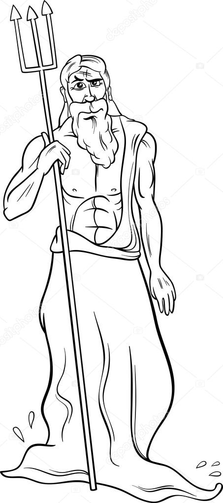 greek god poseidon coloring page — Stock Vector