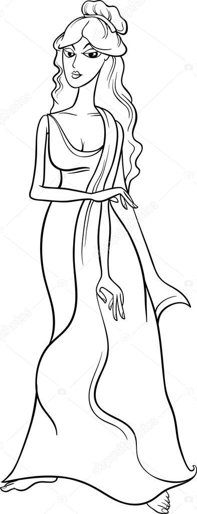 Coloriage de la déesse grecque aphrodite — Image
