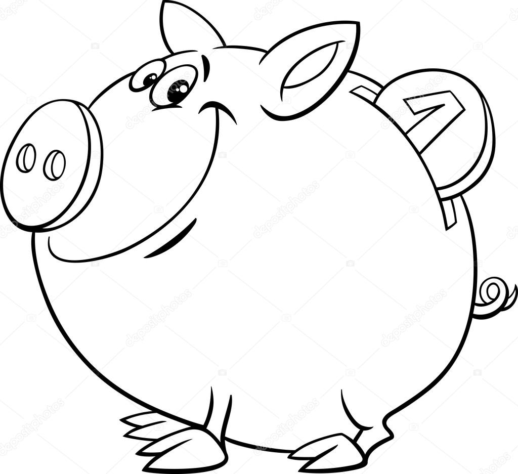 piggy bank coloring page — Stock Vector © izakowski #72539727