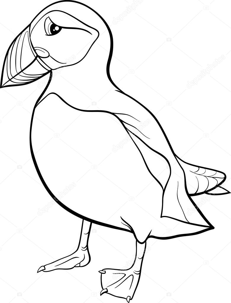Puffin cartoon coloring page — Stock Vector © izakowski