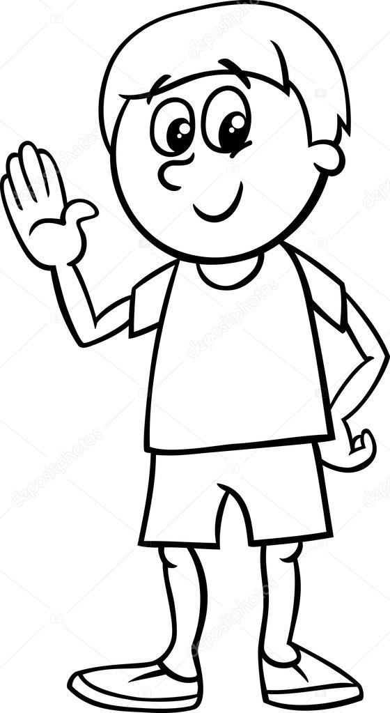 gelukkige jongen cartoon kleurplaat — Stockvector