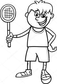 muchacho con raqueta de tenis para colorear pgina ...