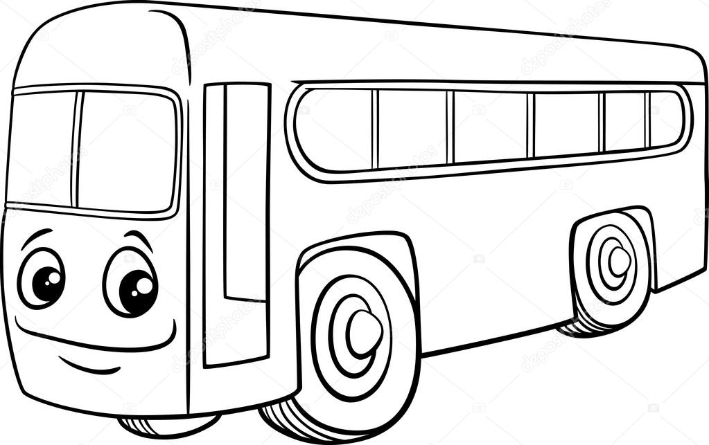 bus character cartoon coloring book — Stock Vector