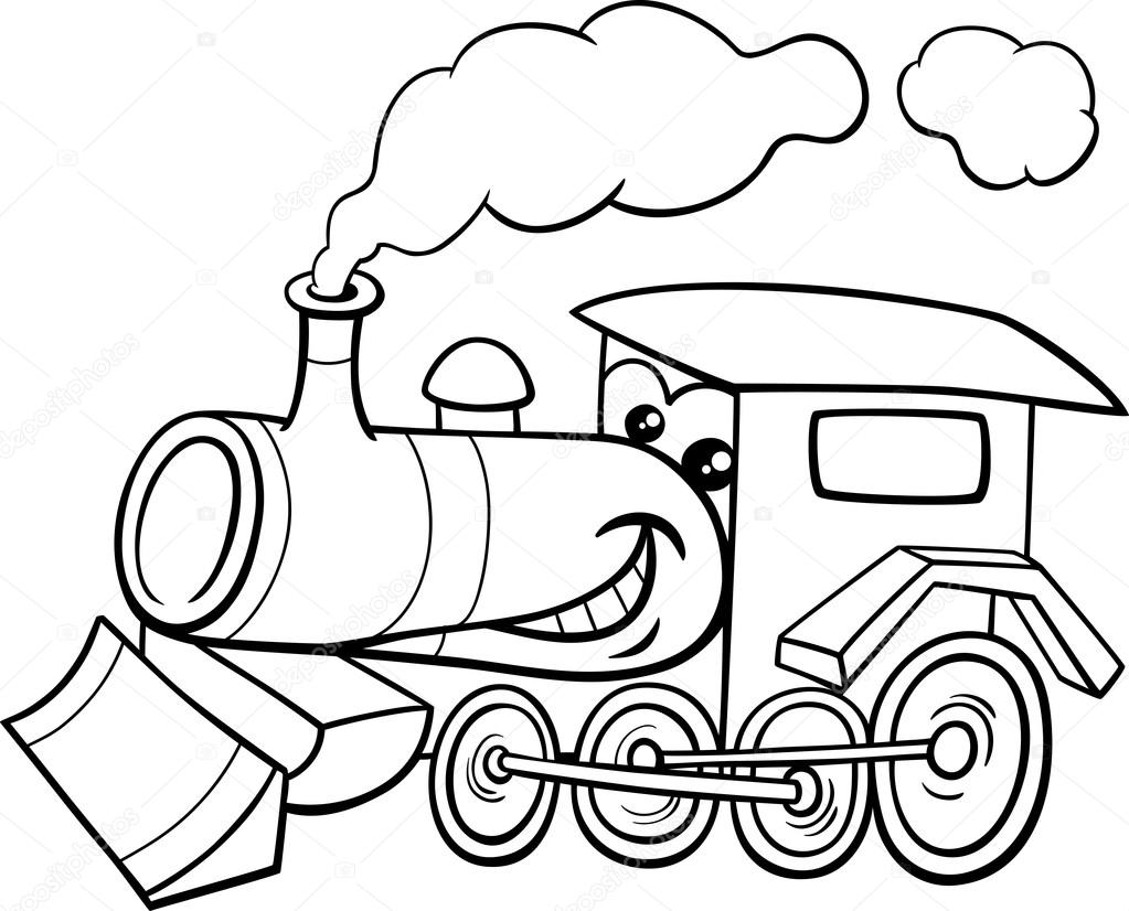 Steam engine cartoon coloring page — Stock Vector