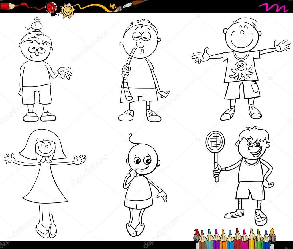 kids set coloring page — Stock Vector © izakowski #92502638