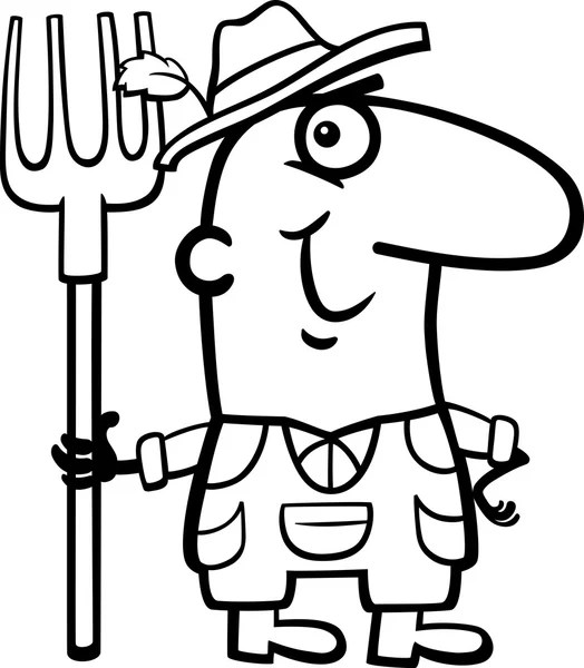 farmer cartoon coloring page — Stock Vector © izakowski