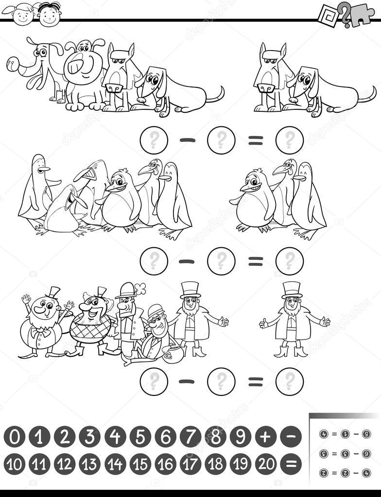libro de colorear de tarea de matemáticas — Vector de