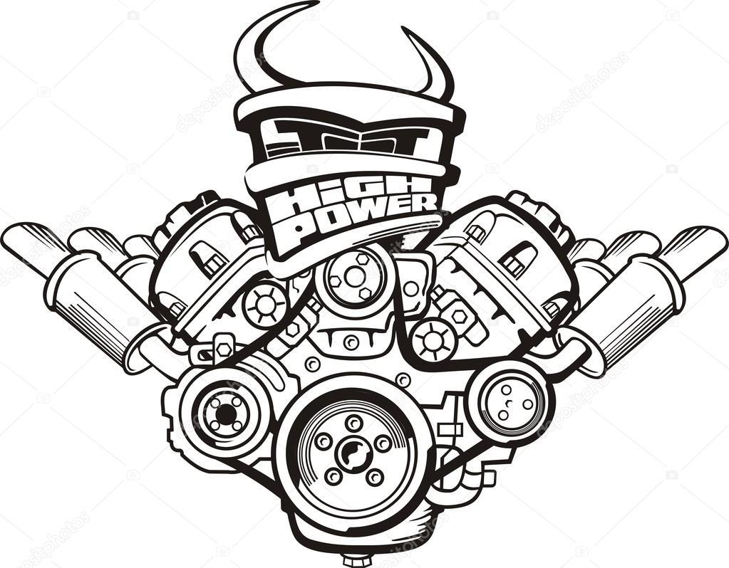 sinal de motor de alta potência — Vetor de Stock © kokandr