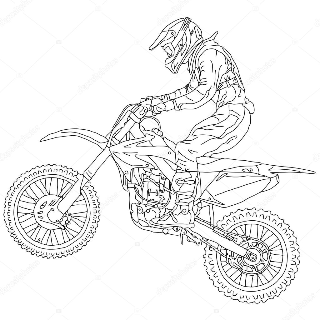 Silhouettes Motocross rider on a motorcycle. Vector