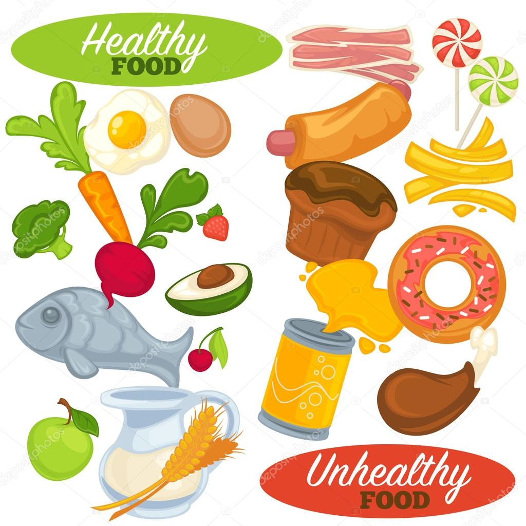 Healthy And Unhealthy Food Set