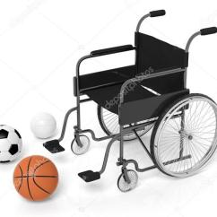 Wheelchair Volleyball Wooden Frame Beach Chairs With Basketball Soccer And Balls Isolated On White Stock Photo