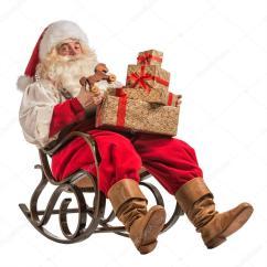 Santa Claus Chair Peacock Color Père Noël Assis Dans Le Fauteuil à Bascule  Photographie