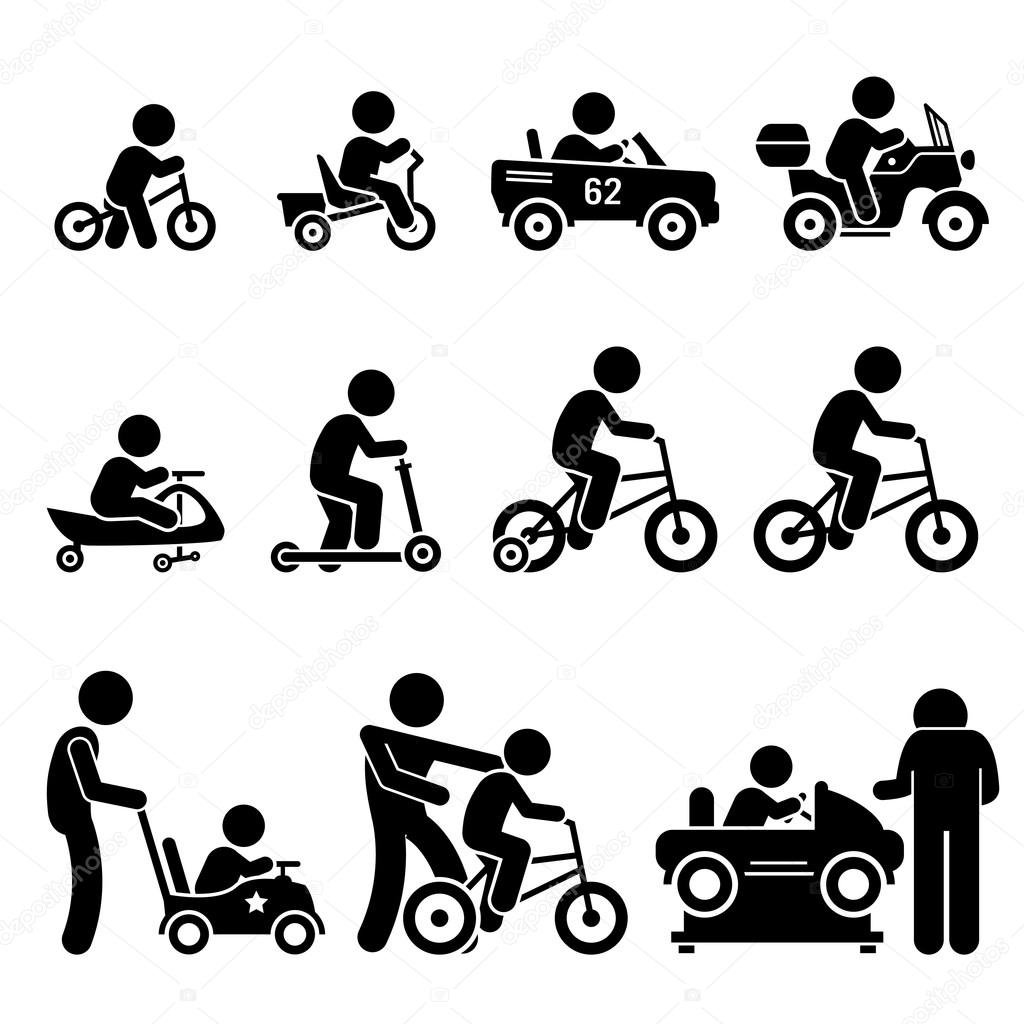 Small Children Riding Toy Vehicles and Bicycle Stick